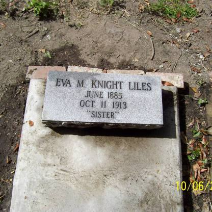 "Find A Grave, database and images (https://www.findagrave.com/memorial/89503258/eva-mae-liles : accessed 1 March 2018), memorial page for Eva May (Knight) Liles (1885-1913), Memorial no. 89503258, created by Eileen Babb McAdama, managed by Glenda Smith. citing Cedar Ridge Cemetery, Macon, Bibb County, Georgia; accompanying photographs by Dennis ""Popeye"" Roland."