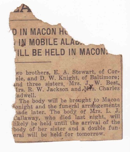 Details of Mrs. L.J. Callaway's funeral, Macon (GA) paper unknown, circa 12 October 1913, newspaper clipping remnant privately held by M. Crymes.