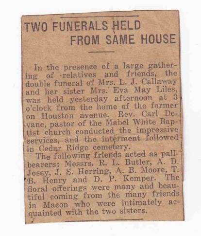"""Two Funerals Held From Same House,"" Macon (GA) newspaper unknown, circa 14 October 1913, newspaper clipping, privately held by M. Crymes."