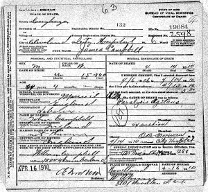 James Campbell Death Certificate
