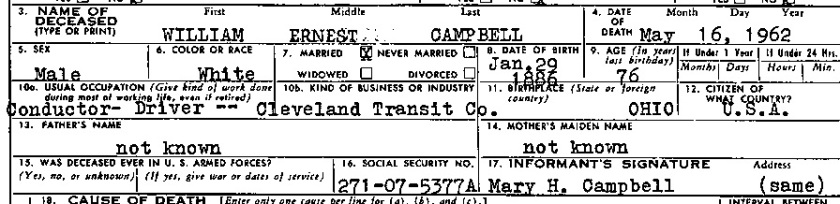 William Ernest Campbell Death Certificate Snippet