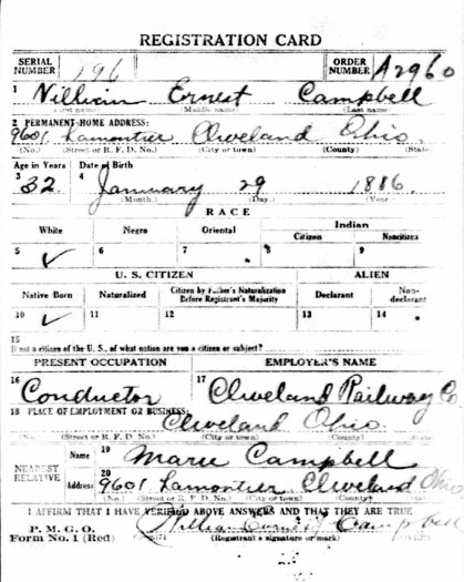 William Ernest Campbell's WWI draft card, side one