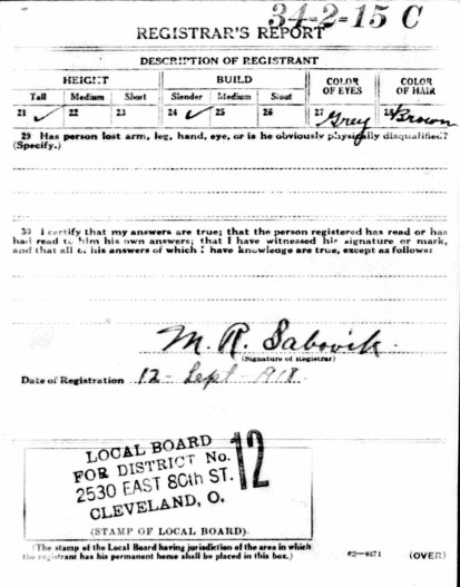 William Ernest Campbell's WWI draft card, side two