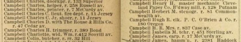 1891-92 Cleveland Directory Campbells