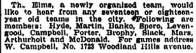 2 April 1904 Campbell Baseball