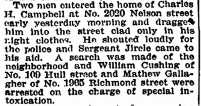 August 1905 Charles Campbell Home Invasion