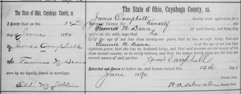 Campell-N. Dean marriage record