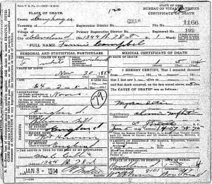 Fannie Campbell Death Certificate