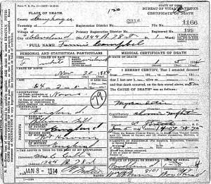 Fannie Campbell Death Certificate